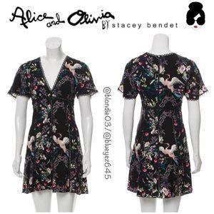 "Alice & Olivia ""Amara"" floral bird print dress 2"